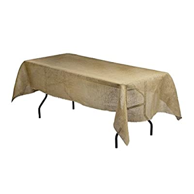 LinenTablecloth Rectangular Jute Tablecloth with Fringe Edge, 54 by 108-Inch - 54 inch in width by 108 inch in length Features fringe edging Material: Burlap fabric; Made from 100% natural jute fiber - tablecloths, kitchen-dining-room-table-linens, kitchen-dining-room - 41r I4zrM1L. SS400  -