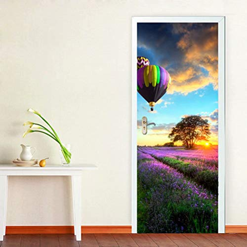 - Tifege Door Mural 3D Wallpaper - Home Decor Wall Decals Stickers for Kitchen Self-Adhesive Art Quote Poster Decorations Hot Air Balloon Lavender 30.3x78.7 DM001