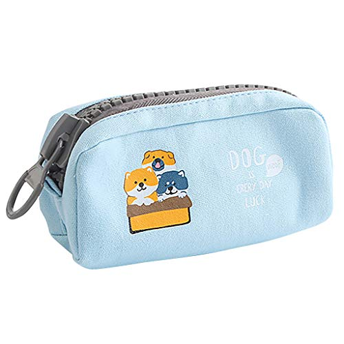 Dowager Pencil Case Genuine Leather Pen Case Stationery Bag Zipper Pouch Pencil Holder Large Capacity (Blue)