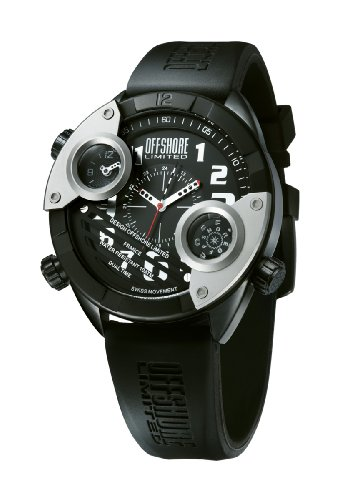 Offshore Men's OFF010A Cockpit Black PVD and Silver Dual Time Rubber Watch