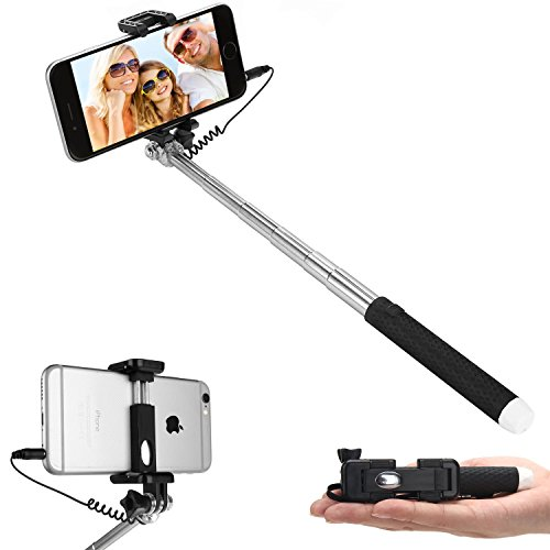 selfie stick dealgadgets extendable supreme mini all in one wire selfie stick. Black Bedroom Furniture Sets. Home Design Ideas