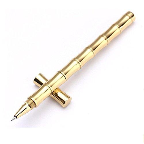 VESNIBA Copper Ballpoint Pen, 1PC Luxury Gold Minimalism Superfine Ballpoint Pen Pure Brass Stationery Copper Pen (Gold -1)