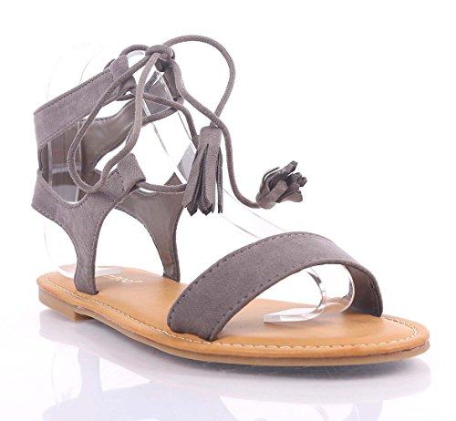 Mode Casual Snörning Strape Fotled Strappy Gladiator Kvinna Sandals Skor Nya Utan Box Grå