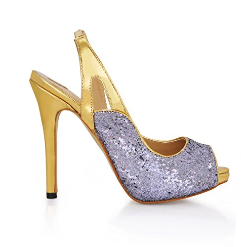 Click women show new gray on-chip high-heel shoes fish tip annual banquet shoes Silver Gray wJtmMZN6