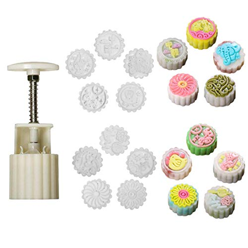 Cookie Stamps Moon Cake Mold with 10 Stamps, 65g Cookie Press Mid Autumn Festival DIY Decoration Press Cake Cutter Mold ()