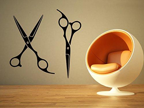 Removable Vinyl Sticker Mural Decal Art Outdoor Indoor Business Barber Shop Hair Beauty Salon Spa Sign Logo Emblem Scissors Tools Name SA046