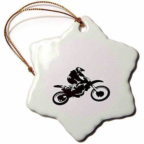 3dRose orn_78777_1 Motorcross Motorcycle Silhouette
