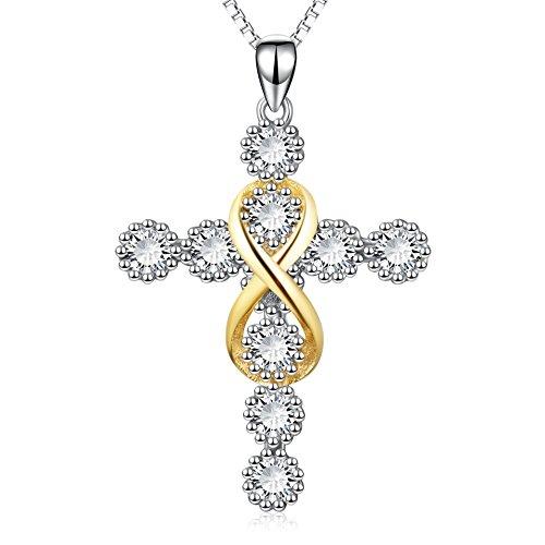 Zircon Cross - POPLYKE Cross Pendant Necklace Jewelry,Gold Infinity Love Knot Diamond Pendant Cubic Zircon Cross Pendant Necklace for Women