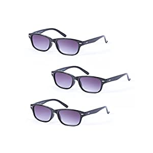 """3 Pair of Classic """"The Intellect"""" Full Reading Sunglasses - Outdoor Reading Sunglasses NOT Bifocals - Soft Pouches Included (Black/Black, 2.5 x)"""