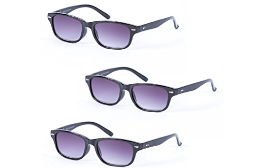 """3 Pair of Classic""""The Intellect"""" Full Reading Sunglasses - Outdoor Reading Sunglasses NOT Bifocals - Soft Pouches Included (Black/Black, 2.75 x)"""