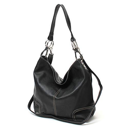 (Janin Handbag Bucket Style Hobo Shoulder Bag with Big Snap Hook Hardware Tall Size)