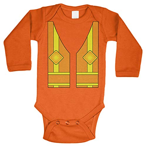 Tcombo Construction Worker Vest - Costume Cute Long Sleeve Bodysuit (Orange, 6 -