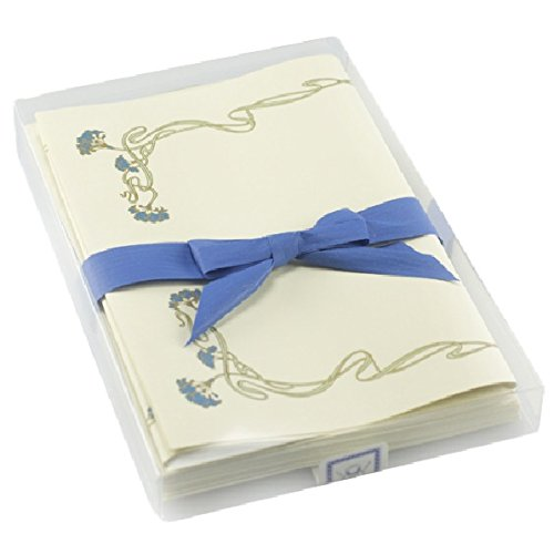 Il Papiro Firenze - ''blue floral frame'' watermarked writing paper by Il Papiro - Firenze