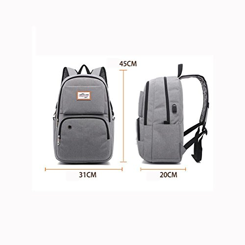 Travel Rechargeable Backpack With Oxford Leisure up Package Usb Grey 15 School Shoulders Charging To Bag Laptop Plyy Port Cloth Inches Student 6wEqd6