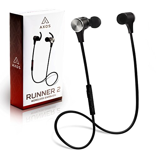 Axos Runner - Wireless Bluetooth Earbuds. Bluetooth Headphones for Lifting and Exercise with APTx, 6 Black Comfy Earphone Tips, Carrying Bag. Microphone for Phone Calls (Bluetooth Tip Headset Power)