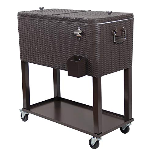 UPHA 80 Quart Rolling Outdoor Patio Cooler Cart on Wheels, Wicker Pattern Portable Drink Beverage Bar for Patio Pool Party, Ice Chest with Shelf and Bottle Opener, Brown ()