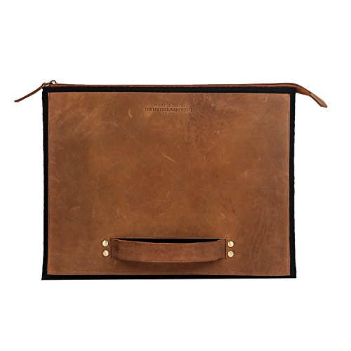 Zipper 13-13.3 inch Leather and Felt   Wool Laptop Sleeve  