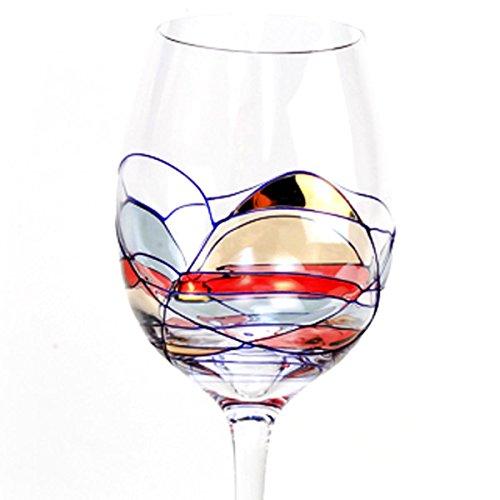 Cobalt Design Glass - Set Of Four (4) - Romanian Crystal Barware - Cobalt Blue Swirl/Stained Glass Pattern - Milano Design - 16 Oz Oversized White Wine Glasses