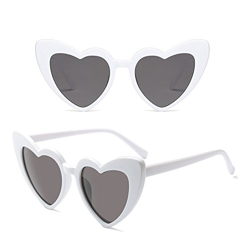 Lunettes de soleil Dintang Rétro Femme de Forme Mode Blanc Classique Lunettes coeur Gris O86OZq