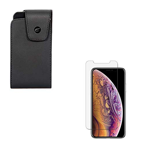 Leather Side Case Cover Pouch w Matte Tempered Glass Screen Protector Anti-Glare [Anti-Fingerprint] Compatible with iPhone Xs X