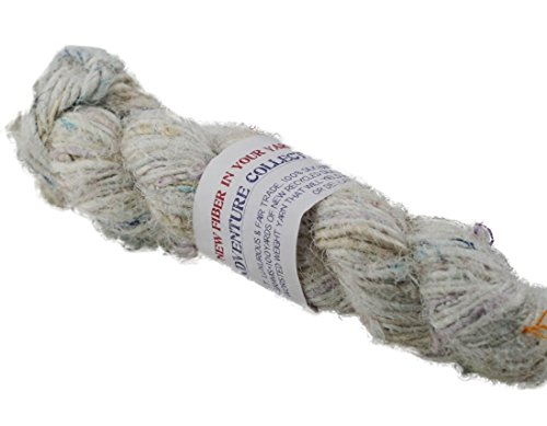 Darn Good Yarn, Lux Adventure Recycled Silk Yarn, 50 Yards, White, 100 Grams, 1 Skein by Darn Good Yarn