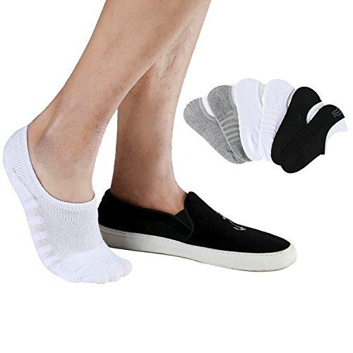 Joulli Mens No Show Socks Cushion Anti-slid Athletic Casual Cotton Low Cut Sock 6 Pack Black White - Cushion Socks Show