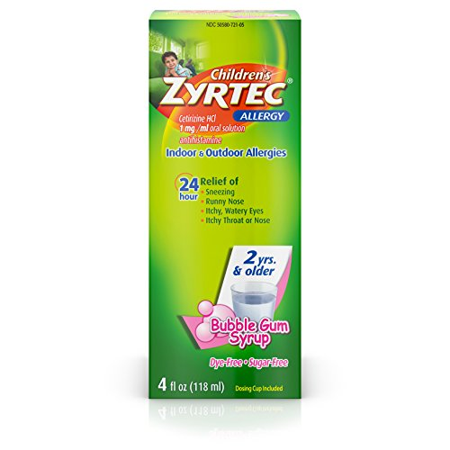 Zyrtec 24 Hr Children's Allergy Syrup with Cetirizine, Dye- & Sugar-Free, Bubble Gum, 4 fl. Oz
