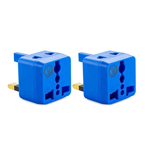 USA to UK Plug Adapter by Yubi Power 2 in 1 Universal Travel Adapter with 2 Universal Outlets – Blue 2 Pack – Type G for…