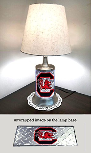 JS Table Lamp with Shade, South Carolina Gamecocks Plate Rolled in on The lamp Base, Diamond Metal Plate Wraps The lamp Base