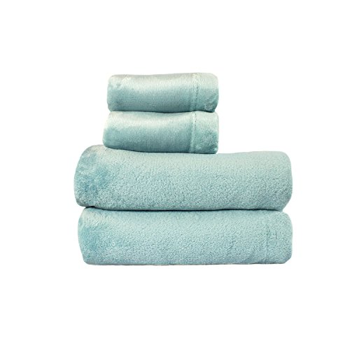 Cozy Fleece Comfort Collection Velvet Plush Sheet Set, Queen, Aqua, 1 Sheet Set ()