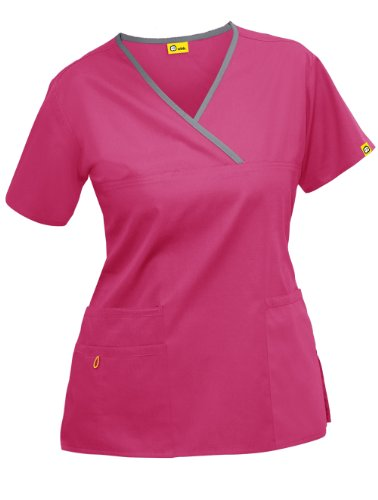 Wink 'The Charlie' Scrub Top Hot Pink w/ Pewter trim