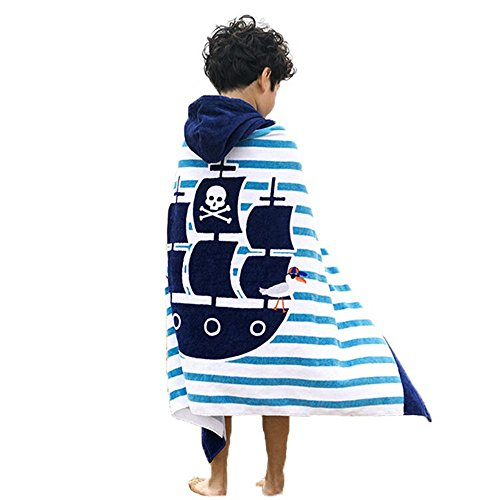 (Violet Mist Kid Hooded Towel Cotton Beach Poncho Bath Towel for Boys(Pirate Ship))