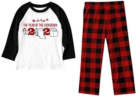 Dainzusyful Pijamas navide ntilde;os Blusa estampada Manga larga Tops y pantalones Ropa familiar Conjunto para padres e hijos Paquete familiar Pijamas navide ntilde;os familiares Pijamas navide ntilde;os para la familia