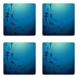 Ambesonne Sea Animals Coaster Set of Four, Hammerhead Shark School Scan Ocean Dangerous Predator Wild Nature Illustration, Square Hardboard Gloss Coasters for Drinks, Navy Blue