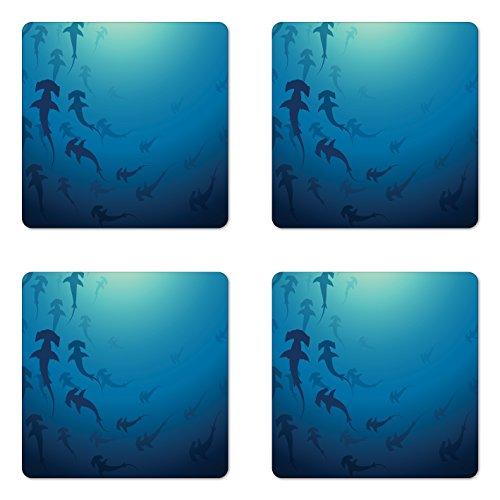 Ambesonne Sea Animals Coaster Set of 4, Hammerhead Shark School Scan Ocean Dangerous Predator Wild Nature Illustration, Square Hardboard Gloss Coasters for Drinks, Standard Size, Blue White