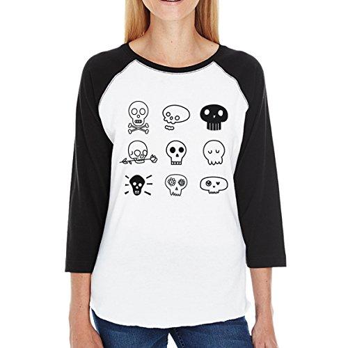365 Printing Skulls Baseball Shirt Womens Horror Night Tshirt Graphic Raglan Tee