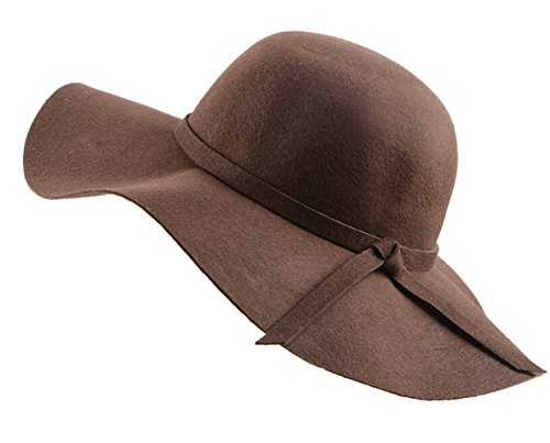 Urban CoCo Women's Foldable Wide Brim Felt Bowler Fedora Floopy Wool Hat (Brown Felt Hat)