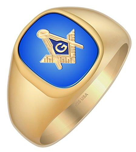 US Jewels And Gems Men's Blue Lodge Gold Plated Vermeil Blue Stone Freemason Masonic Ring, Size 10