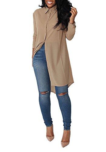 Minetom Mujer Verano Camisa Blusa De Color Sólido Floja Manga Larga T-shirt Dobladillo Irregular Tops Cóctel Casual Caqui