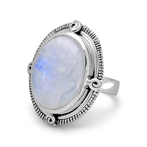 - Oval Rainbow Moonstone Ring Spiral Coil Accents Antiqued Sterling Silver, 7