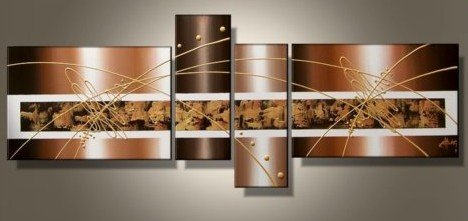 "Amazon Wieco Art 4-Piece ""Brown Clouds"" Hand-Painted Modern Abstract Oil Paintings on Canvas Wall Art Set Oil Paintings"