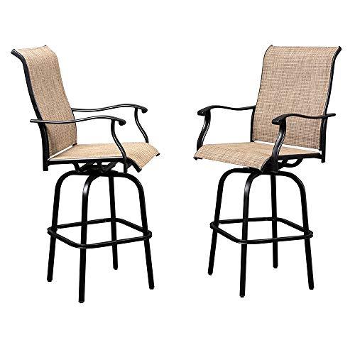 VINGLI 2PCS Outdoor Bar Stools Swivel Chairs Set, Upgraded Patio Bar Chairs, Swivel Patio Chairs ...