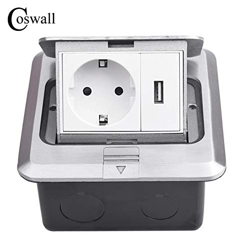 All Aluminum Silver Panel Pop Up Floor Socket 16A Russia Spain EU Standard Power Outlet With USB Charging Port 5V 1A - (Type: Floor Socket, Rated Voltage: 100-240V, Color: Silver, Plug Type: EU,1)