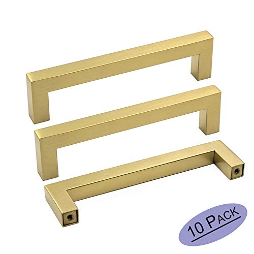 - goldenwarm Gold Cabinet Pulls Square Kitchen Hardware Handles 10 Pack - LSJ12GD160 Brushed Brass Pulls for Cabinets Closet Square Cupboard Bathroom Desk Door Knobs 6-1/4in(160mm) Hole Centers
