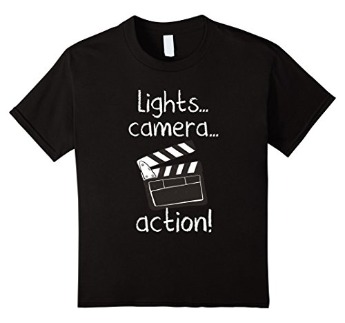 Price comparison product image Kids Lights Camera Action Tshirt Movie Director Clapper Board Tee 8 Black