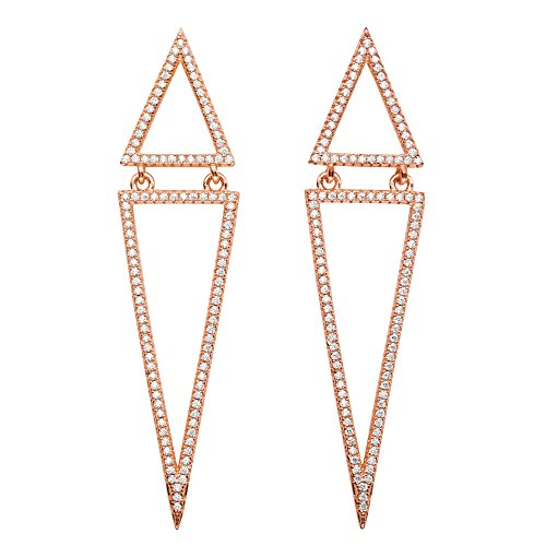 - Pave White Cubic Zirconia Rose Gold-Plated Double Triangle Drop Earrings