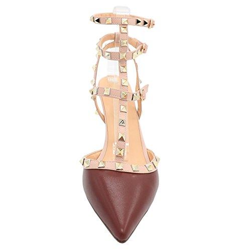 MERUMOTE - Zapatos de vestir para mujer Burgundy-Matte