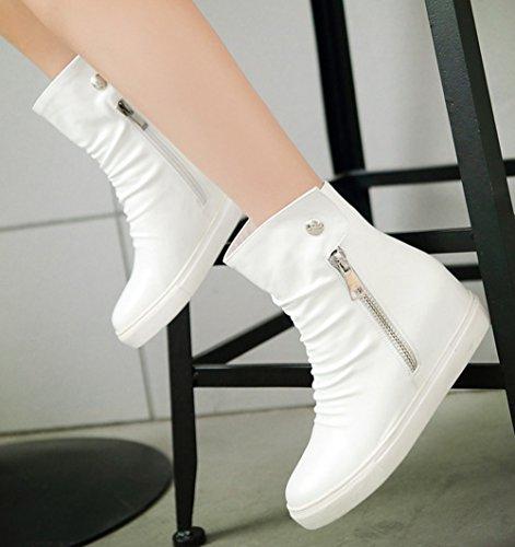 Diffyou Womens Girls Stylish Casual Zipper Round Toe Flat Ankle Booties White IRfaY8UW