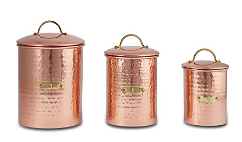 Set of 3 Copper Canister Set. ()