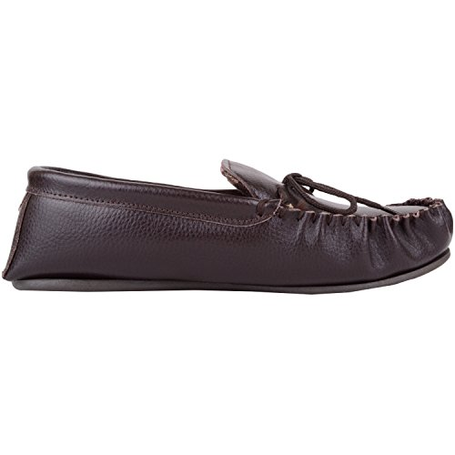 Med Lining Brown Skinn Size Brunt 6 Såle Leather Størrelse With Cotton And Moccasin Moccasin Fôr Bomull Mens Og 6 Hard Tøfler Sole Slippers Hard Menns Y1ZqZd